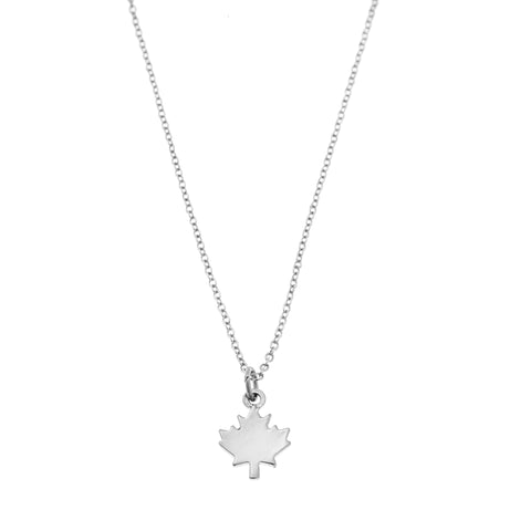 Maple Leaf Charm Necklace in Silver