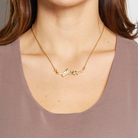 Mama Necklace - 2 babies in Gold