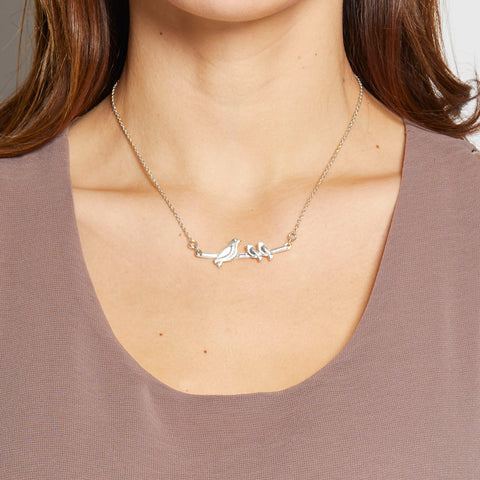 Mama Necklace - 2 babies in Silver