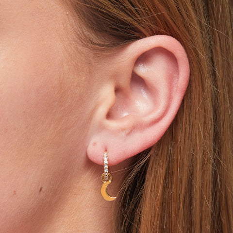 Moon and Star Charm Earrings in Gold