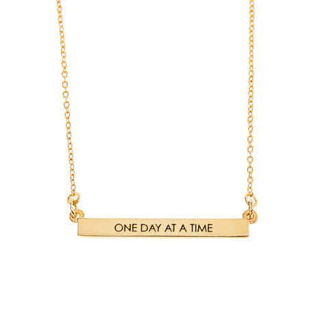 One Day At A Time Bar Necklace in Gold