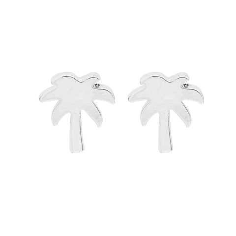 Palm Tree Earrings in Silver