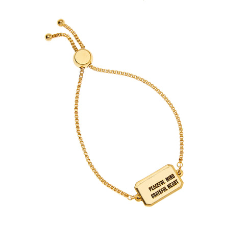 Peaceful Mind Grateful Heart Bracelet in Gold