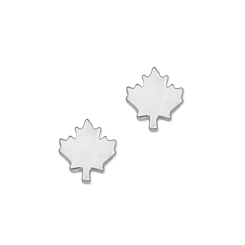 Canada Day Maple Leaf Studs in Silver