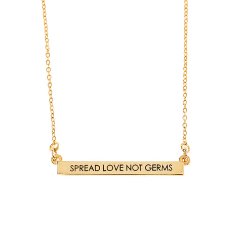 Spread Love Not Germs Bar Necklace in Gold