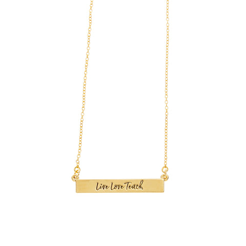Teacher Bar Necklace in Gold