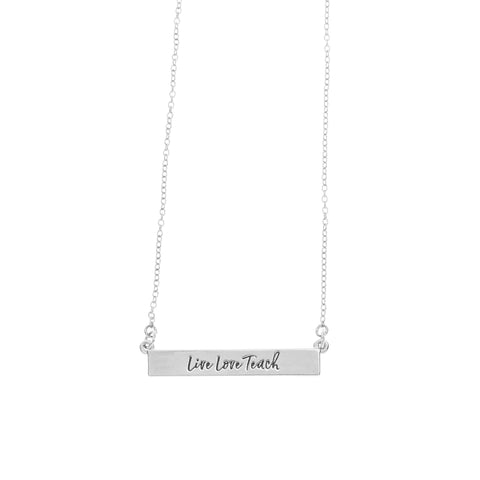 Teacher Bar Necklace in Silver