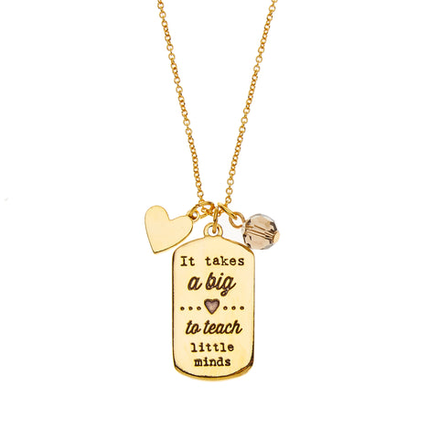 Teachers Charm Necklace in Gold