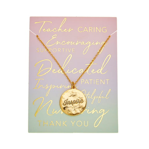Teacher Inspire Necklace in Gold