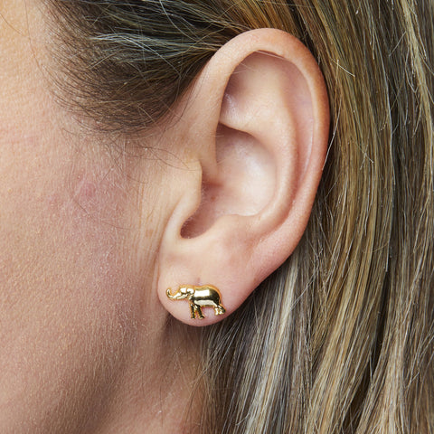 Elephant Earrings in Gold