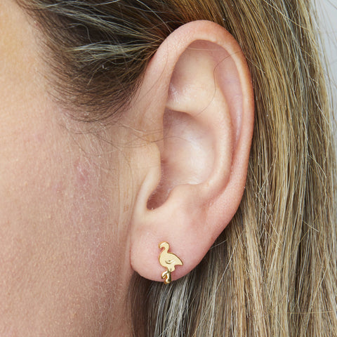 Flamingo Earrings in Gold