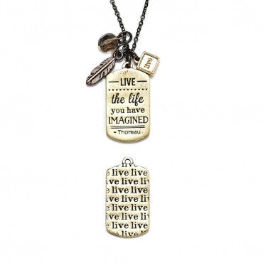 Live The Life Mantra Necklace in Mixed Metals