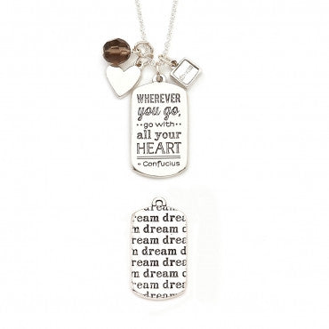Wherever You Go Mantra Necklace in Silver