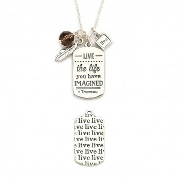 Live The Life Mantra Necklace in Silver