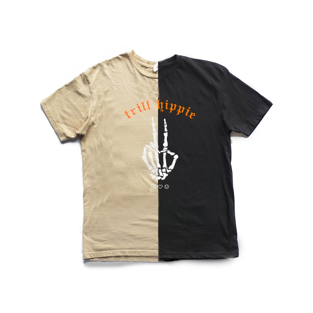 trill hippie : the trill peace [split tee] in BLACK/TAN
