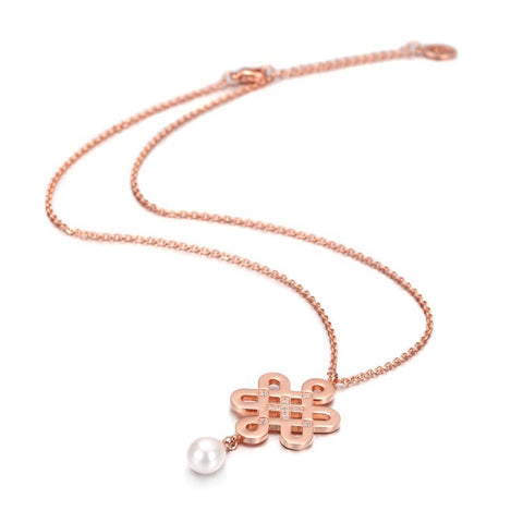Endless Knot Pearl Necklace