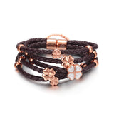 Four-leaf Clover Leather Bracelet