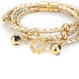 Om Gold Leather Bracelet