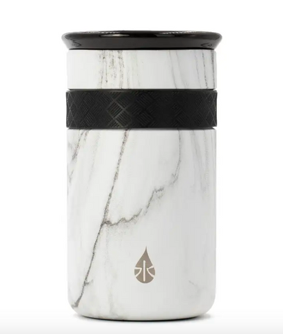 12oz White Marble Tumbler With Ceramic Lid