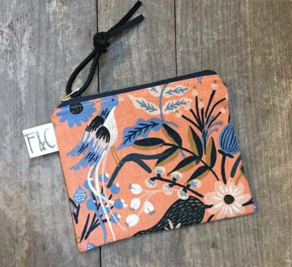 Pacific Zipper Pouch In Floral Birds Canvas
