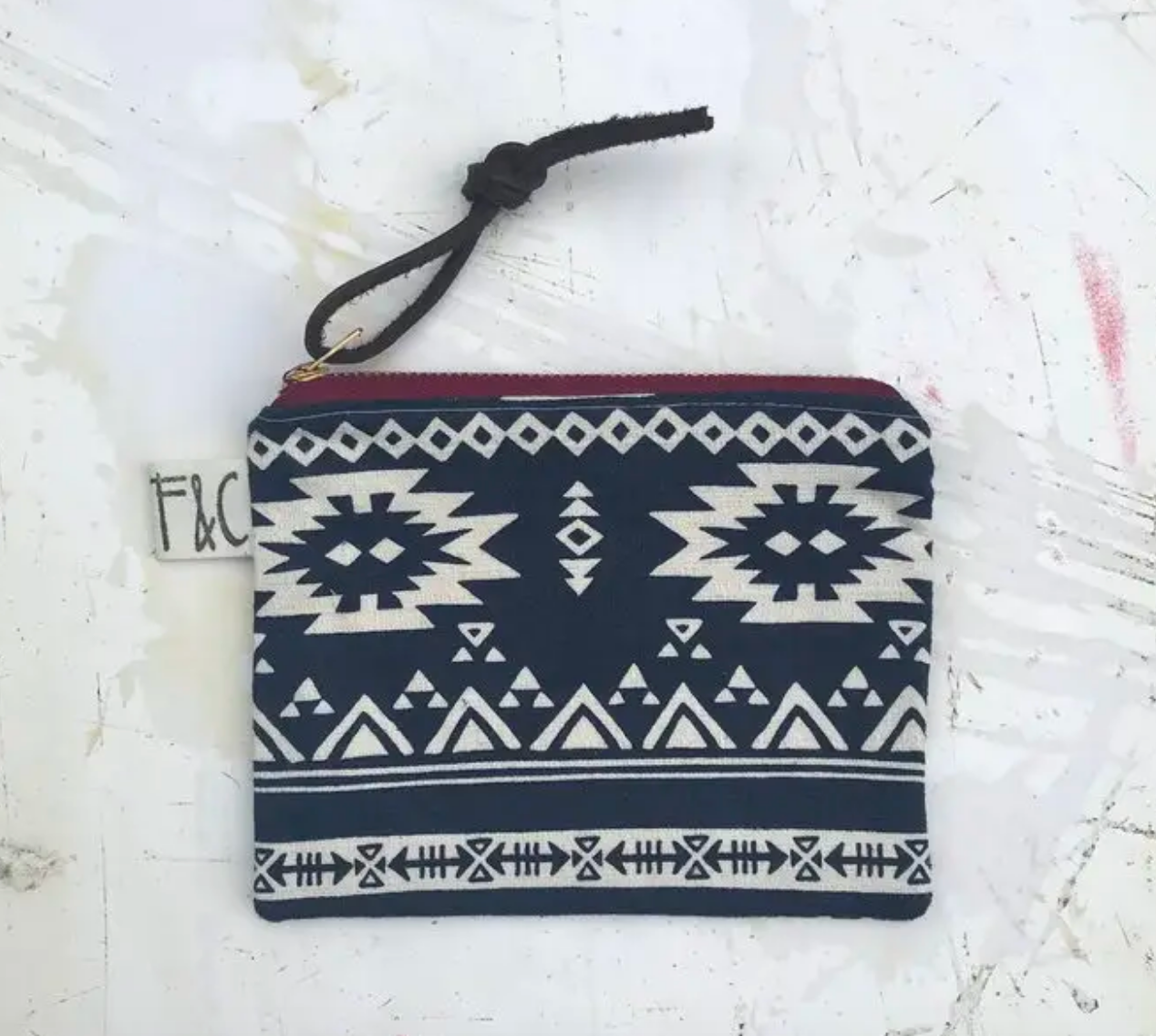 Pacific Zipper Pouch In Indigo Southwest Canvas Slub
