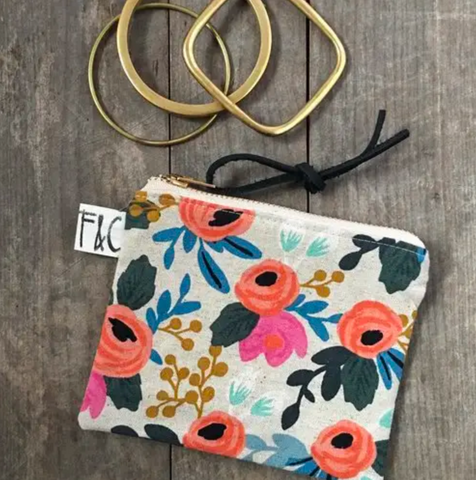 Pacific Zipper Pouch In Coral Floral Canvas