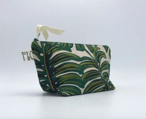 Tabor Cosmetic Bag In Monstera Linen Canvas