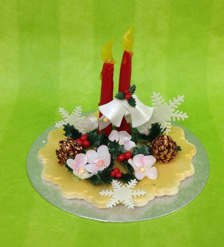 Christmas candles arrangement topper - I Love Cake Decorating