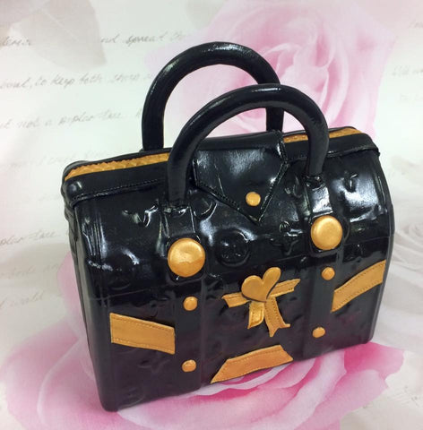 Black and gold handbag topper - I Love Cake Decorating