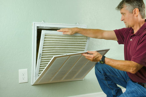 man with air filter