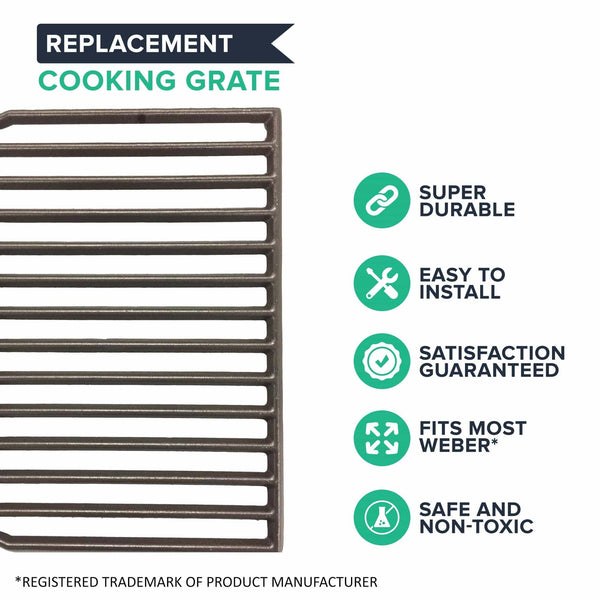 2pk Replacement Long Lasting Cooking Grate, Fits Weber Grills, Compatible with Part 7522, 15 x 11.3 x 0.5