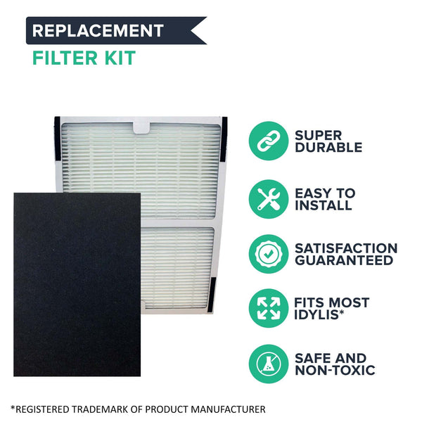 Crucial Air Replacements Compatible with Idylis HEPA Style A Air Purifier Filter & Carbon Filter Fits IAP-10-100, IAP-10-150, Model # IAF-H-100A (2 Pack)