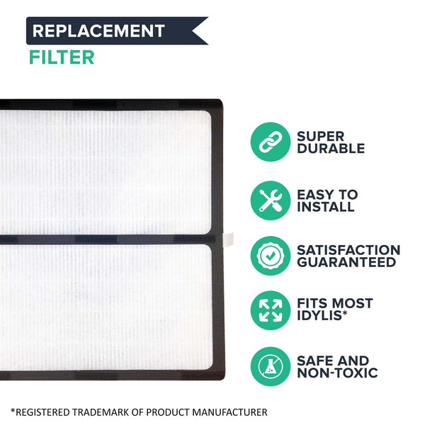 Crucial Air Replacements for Idylis HEPA Style D Air Purifier Filter & Carbon Filter, Compatible with Model # IAF-H-100D