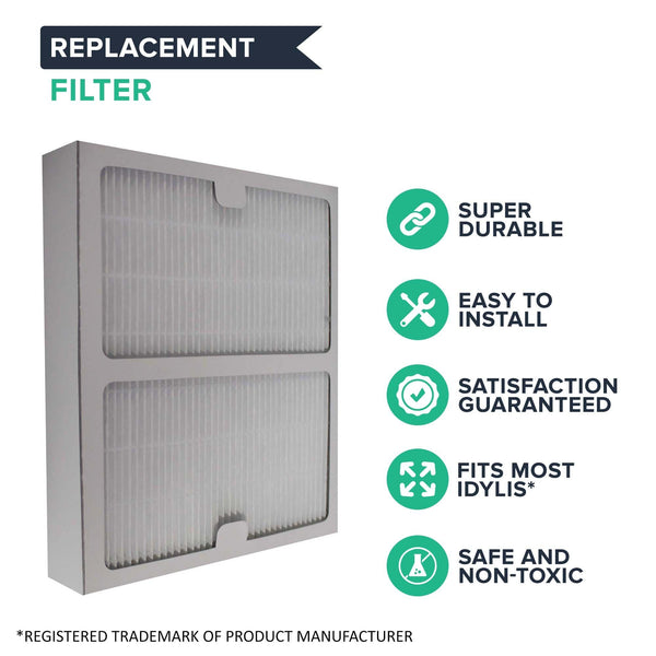 Crucial Air Filter Replacement Parts Compatible With Idlyis Part # IAP-10-125 and IAP-10-150 - Fits Idylis B Air Purifier Filter IAF-H-100B - Dust Mites