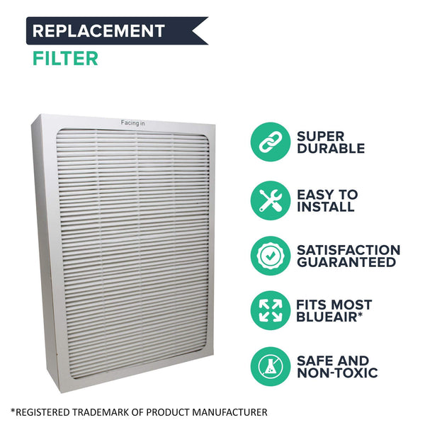 Crucial Air Replacements Compatible with Blueair 500 & 600 Series Air Purifier Filters W/ Built-In Odor Neutralizing Particle Pre-Filter, Fits ALL 500 & 600 Series Air Purifiers