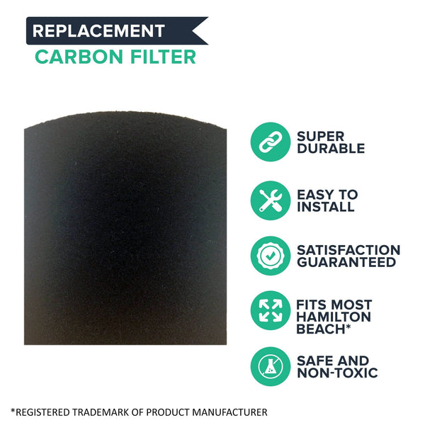Crucial Air Replacement Carbon Filters Compatible with Hamilton Beach True Air Filter Parts - 5.5'' x 5'' x 2'' - Part 04290 04290G 04291G 04294G 04230FS 04230G 04234G Models 04530GM, 04532GM