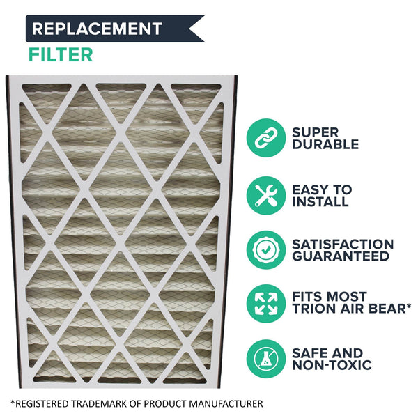 Replacement Air Filters Pleated Furnace Filter Parts Compatible With Trion Air Bear Part # 255649-101, Merv 8, 16 in x 25 in x 3 in