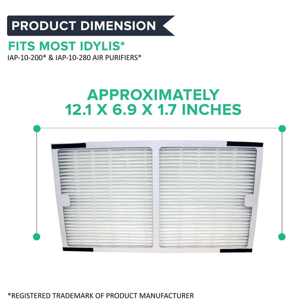 "Crucial Air Replacement Filter Compatible with Idylis C Filter Air Purifier Parts 1.4"" x 6.7"" x 11.8"" Pair with Hepa Style Filters Part IAP-10-200, IAP-10-280"