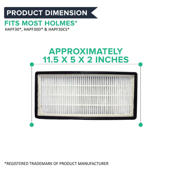 Crucial Air Filter Replacement Parts Compatible With Holmes Part # 16216, HRC1, Holmes Part HAPF30, HAPF30D - Fits 1 Holmes HEPA-Style Air Cleaner Filter Designed To Fit Holmes (2 Pack)