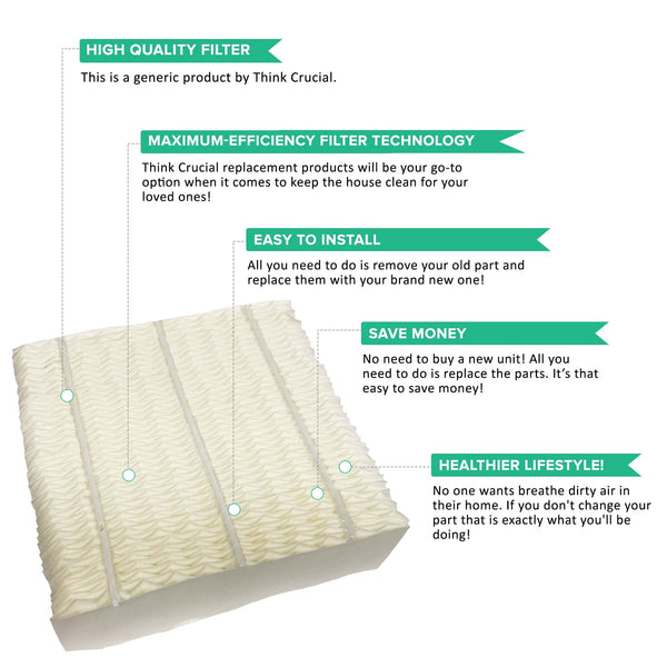 2pk Replacement Paper Wick Humidifier Filter, Fits Aircare 1043, Spacesaver 800 Series