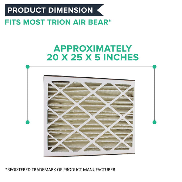 Crucial Air Replacements Compatible with Trion Air Bear 20x25x5 Pleated Furnace Air Filter Fits 255649-102, Merv 8