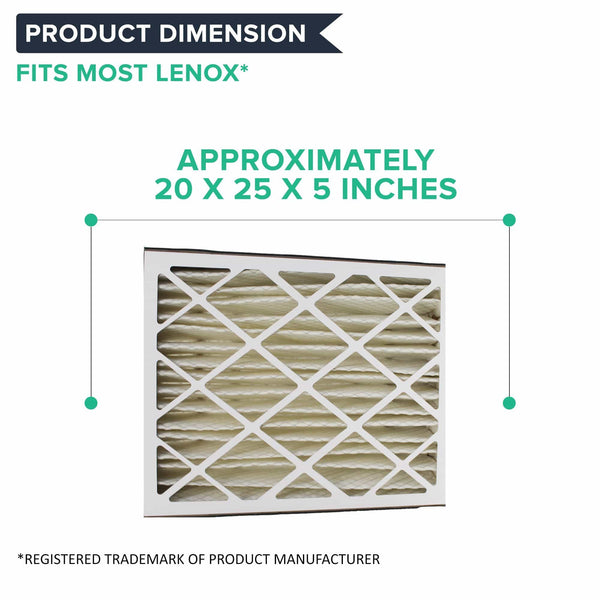 2pk Replacement 20x25x5 MERV-8 Furnace HVAC Filters, Fits Lennox, Compatible with Part X6673