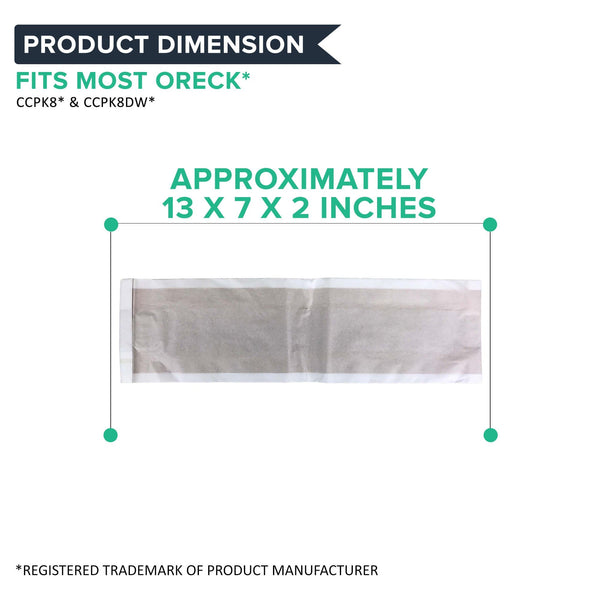 Crucial Vacuum Replacement Bags Compatible With Oreck Type CC Vacuum Cleaner Bags - Pair with Parts # CCPK8 CCPK8DW PK2008 PK80009DW PK80009 68710-6 687106 and Models XL5, XL7, XL21, XL100C