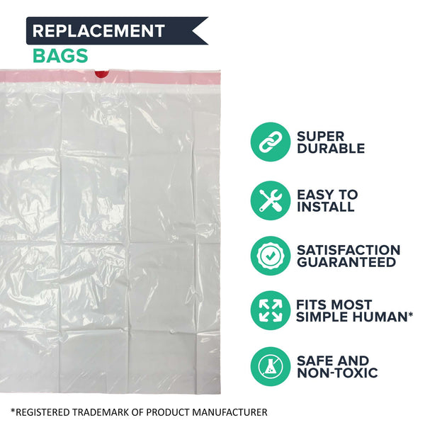 50pk Replacement Garbage Bags, Fits Simplehuman Trash Bins, 45L / 12-Gallon, Style-M