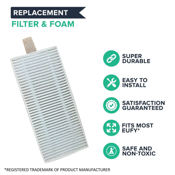 2PK Replacement Filter & Foam, Fit Eufy RoboVac 11 & 11C Vacuum Cleaners