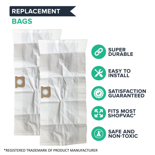 Think Crucial Replacement Vacuum Bag Compatible with Shop-Vac Part # 90663 & 90663-00, Fits Type G 15-22 Gallon Shop-Vac Wet and Dry Vacuum Model