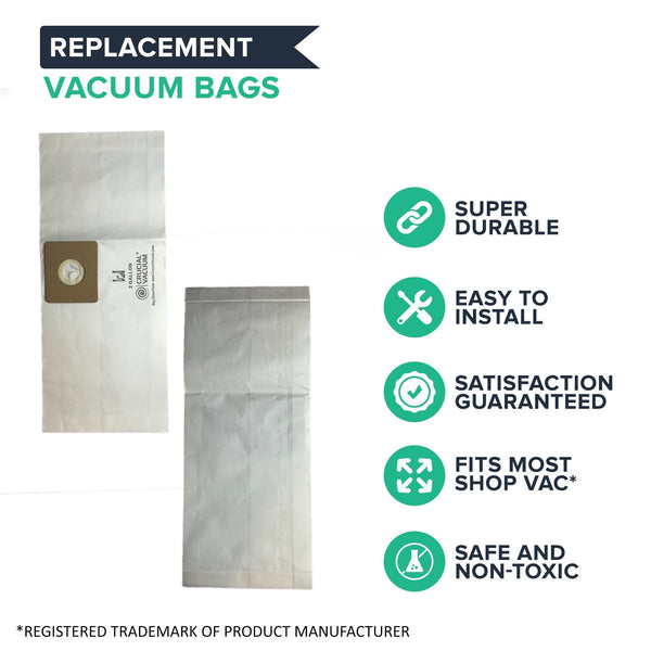 Think Crucial Replacement Vacuum Bags Compatible with Shop-Vac Part # SV-9066800, Fits Type B 2 and 2.5 Gallon Shop-Vac Wet & Dry Vacuum – (3 Pack)