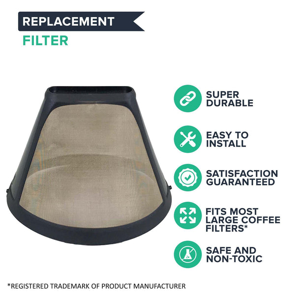 Replacement #4 Gold Tone Coffee Filter, Fits Cuisinart, Braun, GE, Jerdon, Krups, Melitta & More, Washable & Reusable