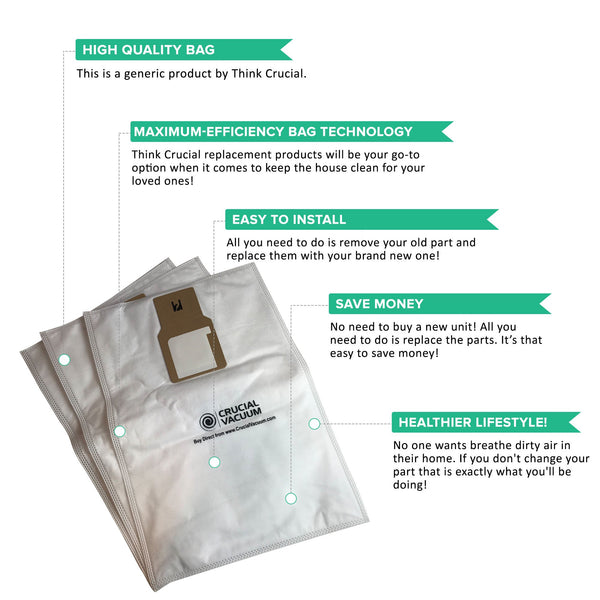 15pk Replacement Cloth Bags, Fits Kenmore 50688 & 50690, Compatible with Part 20-5068 & 20-50681