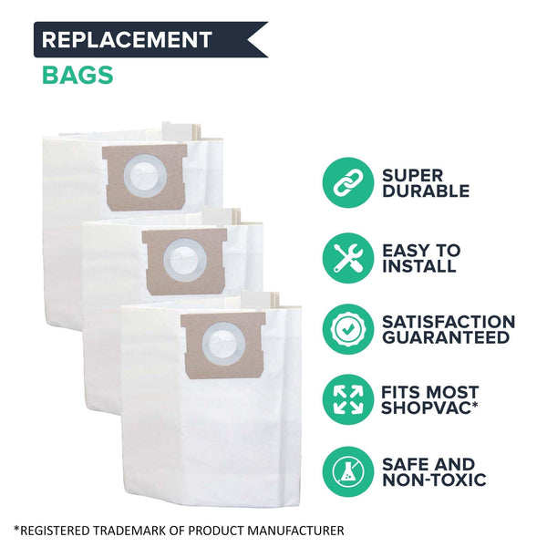 Think Crucial Replacement Filtration Bag Compatible with Shop-Vac Part # SV-9066100, Fits Type H 5 to 8 Gallon Shop-Vac Wet and Dry Vacuum Model